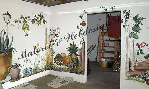 deko pflanzen tiere wandmalerei in garage wanddeko wandbemalung garage natur landsachaft - Wandbemalung Kinderzimmer